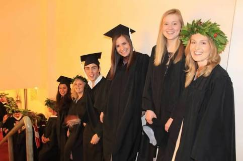 BA students preparing for the ceremony